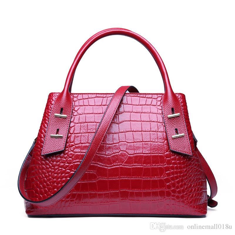 High quality fashion Genuine leather women's crocodile pattern handbag shoulder bag female First layer cowhide Messenger bag