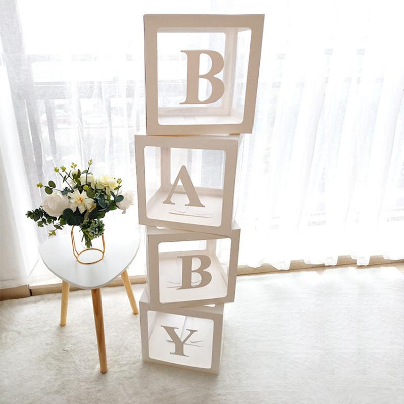 Baby Shower Paperboard Box Baby Shower Boy Girl BabyShower First Birthday Party Decorations Name Decor Party Supplies