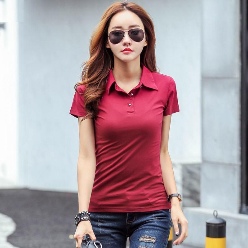 Alta calidad 2019 camisas de manga corta s mujeres del verano nuevas mujeres ocasionales de algodón solapa fina dama camisetas tapas de la manera camisas