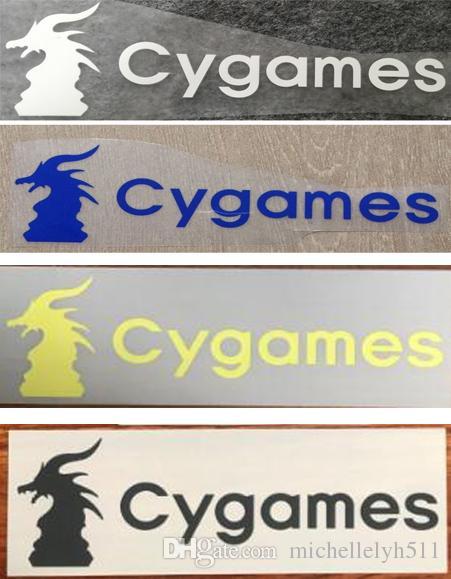 Hot stampa Cygames logo dello sponsor davanti adesivi calcio impressionato bracciali badge calcio stampati bracciali anteriori stampaggio patch di calcio