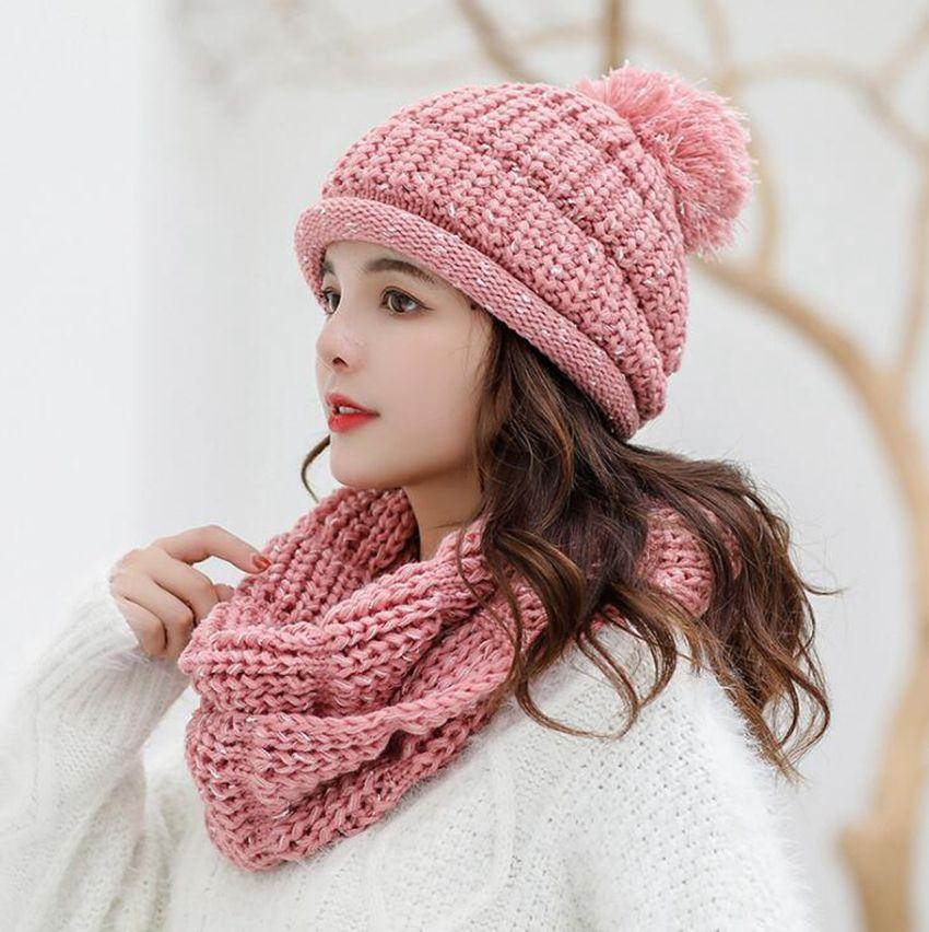Donna Cappello di lana Beanie e della sciarpa del 7 colori Pom Pom Berretti calda inverno Cute Girls Fashion Cap LJJO7220