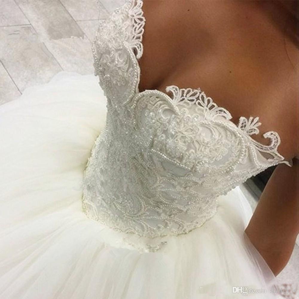 2019 Sıcak Satış Lüks Balo Gelinlik Balo Ile Aplikler Boncuklu Düğün Parti Elbise Prenses Gelin Önlükler