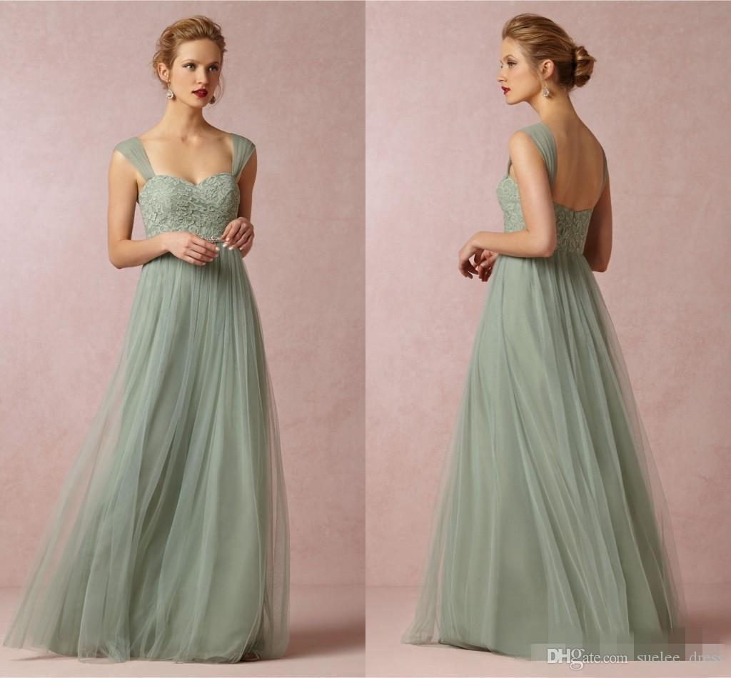 Simple Pastel Green Bridesmaid Dresses Straps Tulle Lace Floor