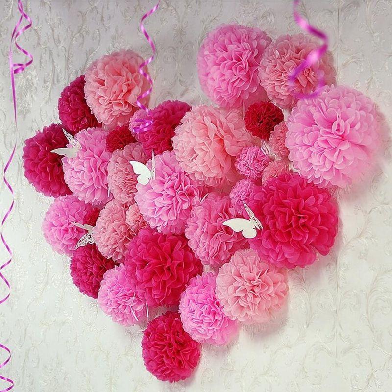 10PCS Handmade 4''(10CM) Tissue Paper Pom Poms Paper Flower Ball Pompom For Home Garden Wedding Birthday&Wedding Car Decoration C18112602