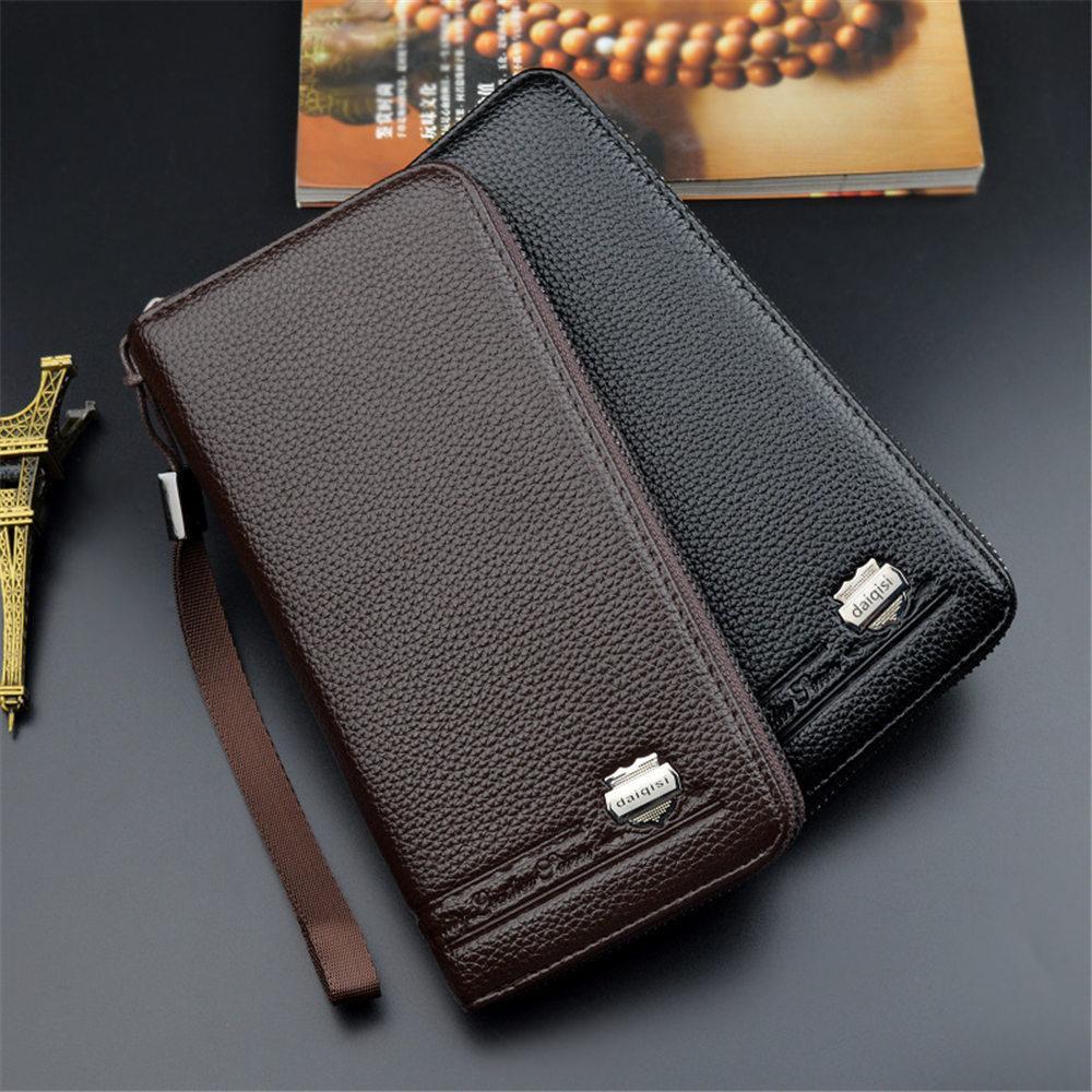 Luxury Business Long Wallet PU Leather Men Wallet Hand Strap Clutch Bag Fashion ID Card Phone Money Wallet Clip Elegant 2019 Purse