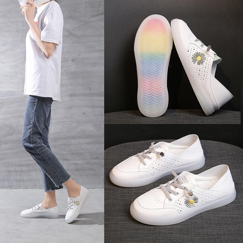 Branco pequeno Shoes Feminino Primavera e Outono Estudantes New suave inferior sapatos respirável do Conselho de Administração do arco-íris fundo anti-derrapante Transparente