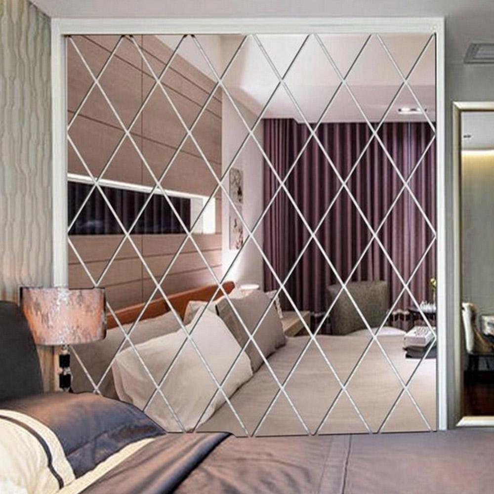 Diamant-Muster-Spiegel-Wand-Aufkleber DIY Wohnzimmer-Dekor 3D-Spiegel-Wand-Aufkleber-Ausgangsdekoration Handwerk DIY Y200102