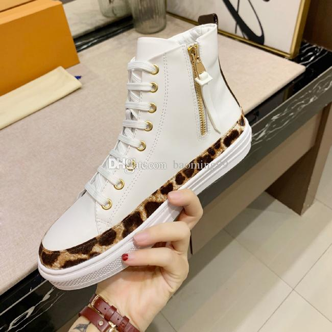 2019 Newest Fashion Woman's Casual Shoes leopard print Designer Sneakers Shoes Top High White Genuine Leather Classic Flower Shoes 35-45