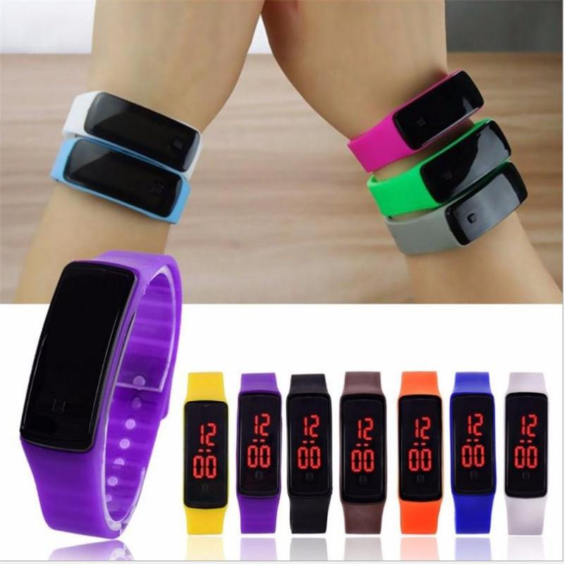 Hot wholesale New Fashion Sport LED Watches Candy Jelly men women Silicone Rubber Touch Screen Digital Watches Bracelet Wrist watch dc482
