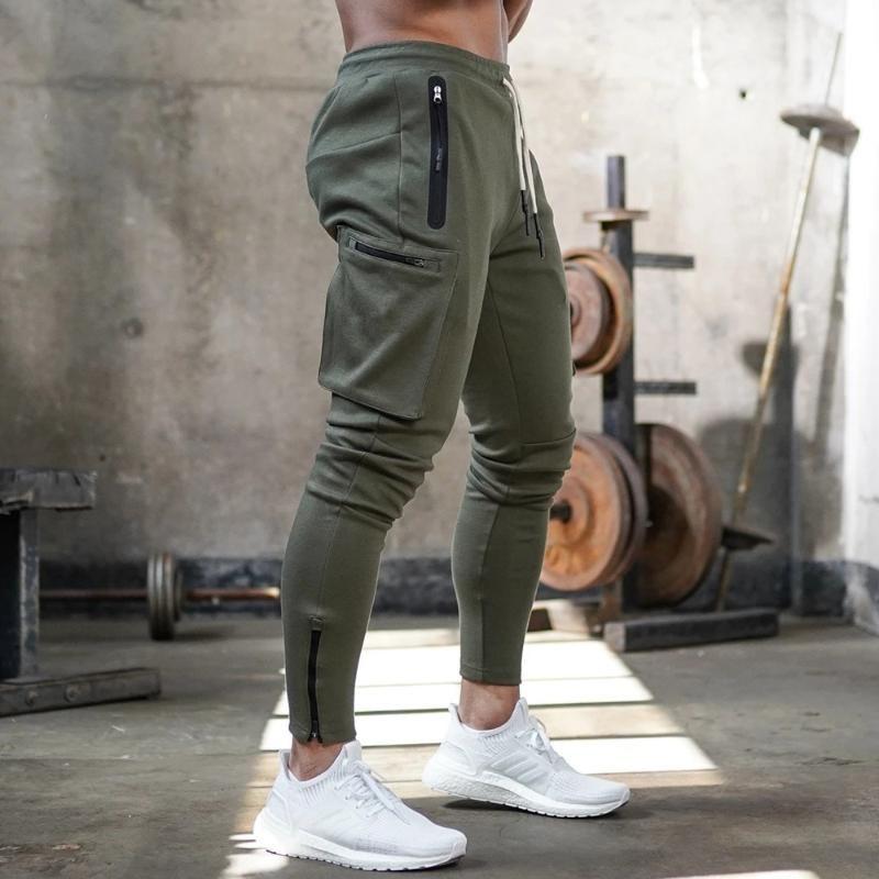 الرجال السراويل ركض sweatpants الرجال عارضة نحيل متعدد جيب السراويل الذكور تتبع رياضة اللياقة البدنية كمال الاجسام الرياضة بانت