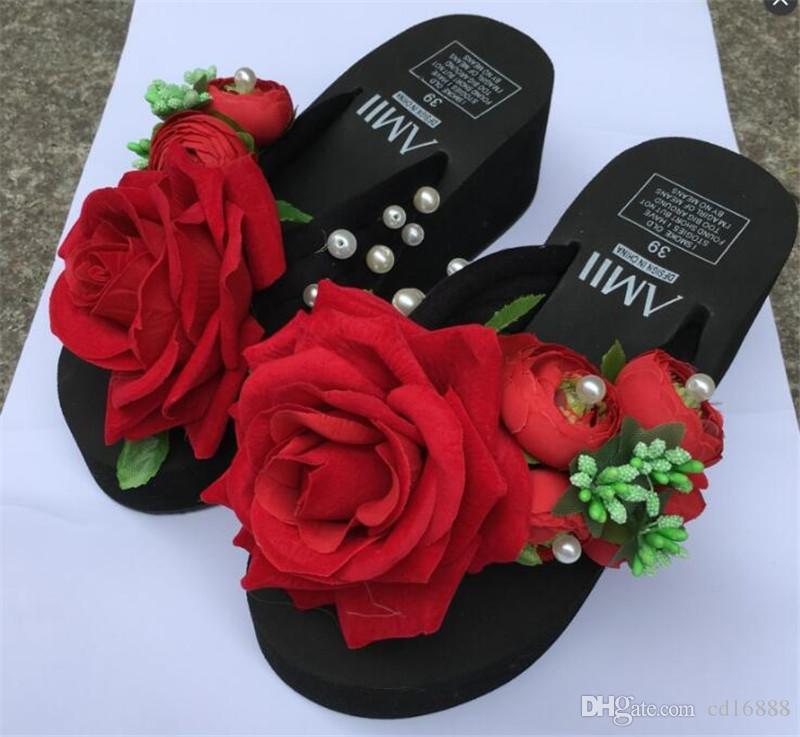 Más populares 2019 Nuevas flores originales hechas a mano perlas Chanclas Verano Mujer Zapatos Sandalias Plataforma Cuñas Zapatos Mujer Sandalias zapatillas
