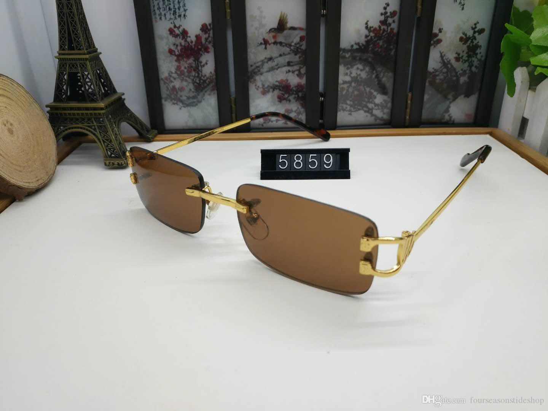 2020 패션 대형 무테 선글라스 남성과 여성의 독특한 스타일 투명 렌즈 선글라스 금속 프레임 물소 뿔 안경 lunettes에 대한
