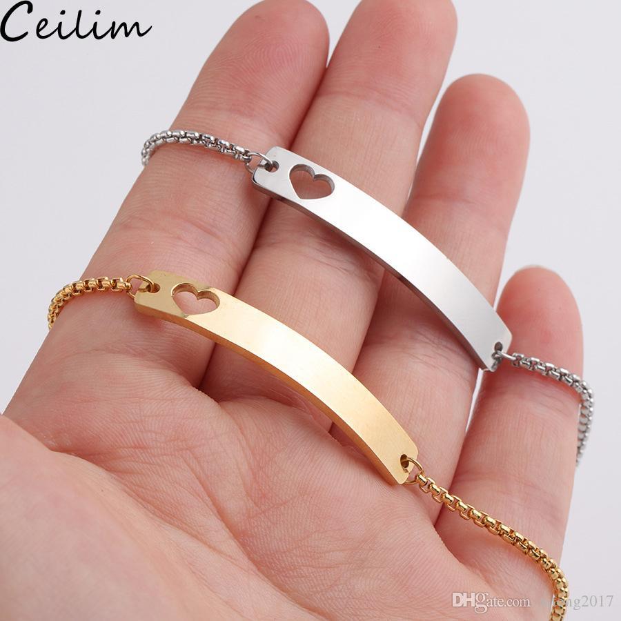 Love Heart из нержавеющей стали Blank Bar браслет DIY Гравировка Имя ID Первые Регулируемые цепи браслеты Золотой браслет Slider Box для женщин