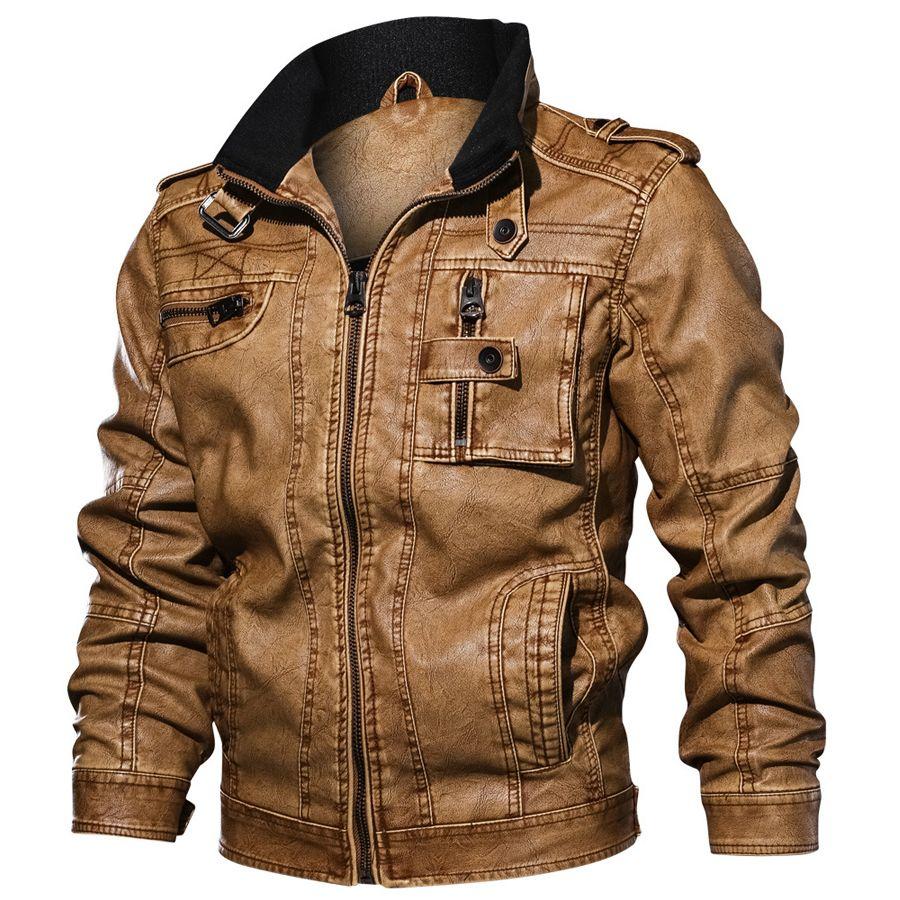 2019 Vestes Slim Fit Casual Outwear Veste Winderbreaker PU Moto En Cuir Vestes manteau masculin Dropshipping