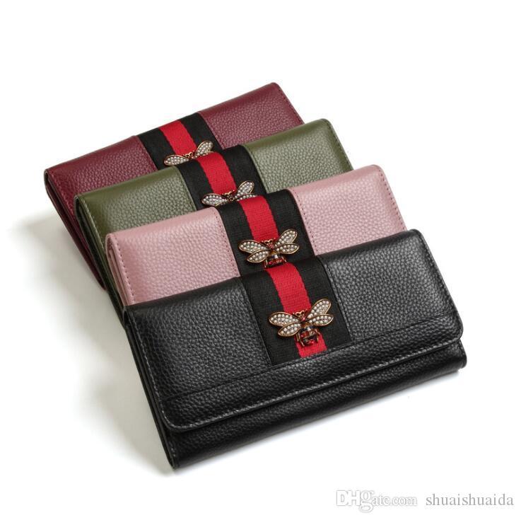 2019 Women wallet Rectangle Genuine leather Soft cowhide Women billfold Zero purse Small Monochromatic Wallets Card bag Wholesale A6537A