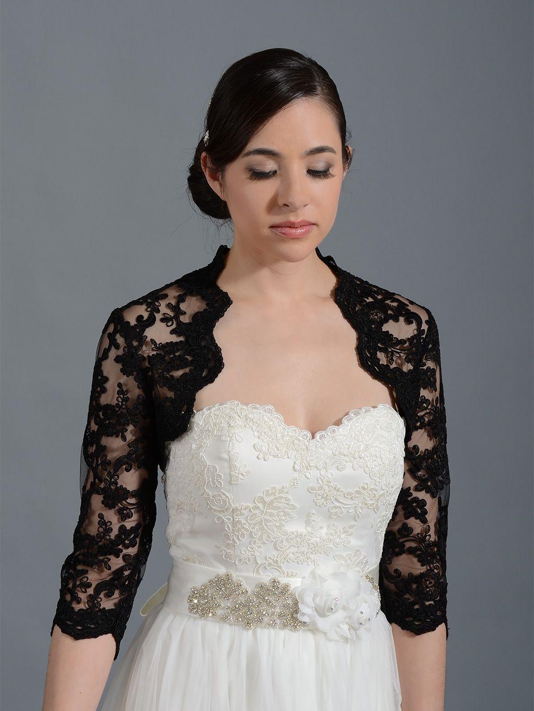 Großhandel Vintage Schwarze Spitze Hochzeit Braut Bolero Jacke Cap Wrap  Achselzucken Benutzerdefinierte Satin Halbe Ärmel Vorne Offene Jacke Für