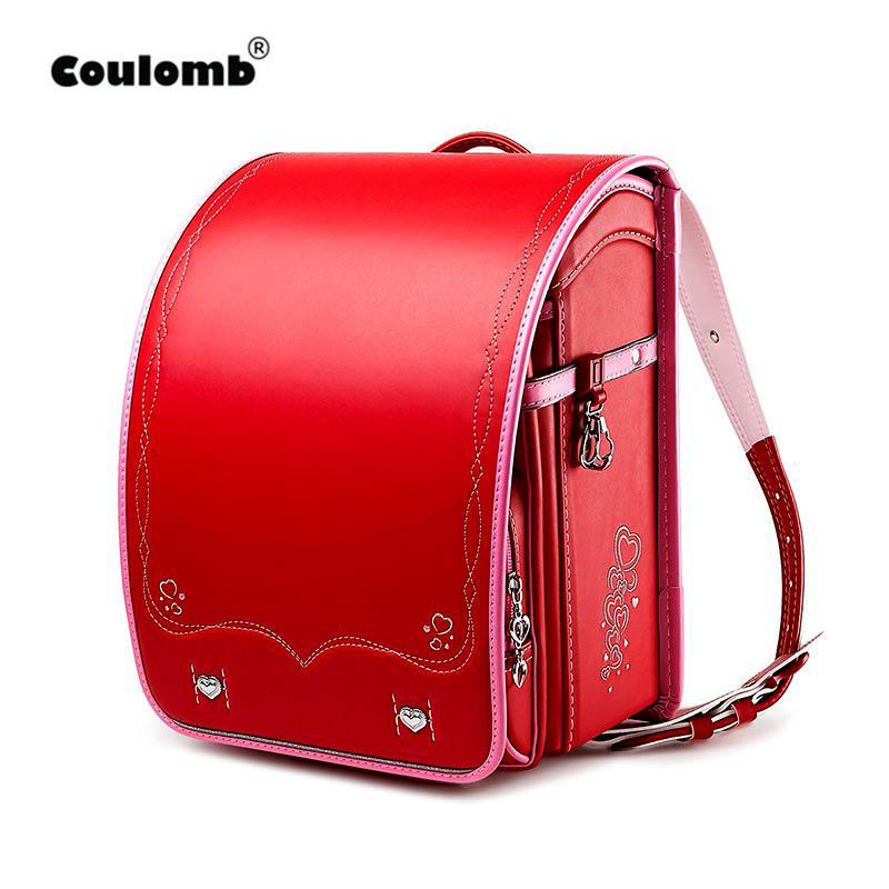 Coulomb Çocuk Okul Çantası İçin Kız Çocuk Ortopedik Sırt Çantası İçin Okul Öğrencileri okul çantalarını Japonya PU Randoseru Bebek Sırt Çantası Çanta MX200327