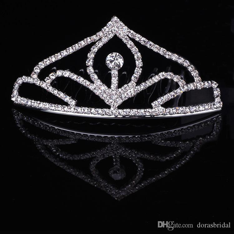 Девушки диадемы Wtih стразы кристаллы аксессуары для волос Вечерний выпускной вечер производительности театрализованное диадемы короны для маленьких девочек DB-T060