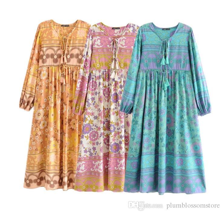 여성 꽃 프린트 맥시 드레스 2021 새로운 V 넥 섹시한 긴 소매 보헤미안 해변 휴가 긴 드레스 봄 여름 느슨한 캐주얼 맥시 드레스