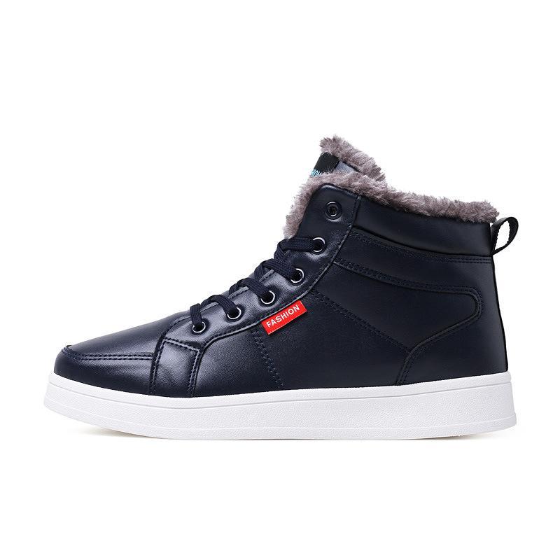 2019 новая мужская обувь Мода повседневная обувь снегоступы мужская высокий топ плюс бархат толстая доска хлопок теплый E21-69