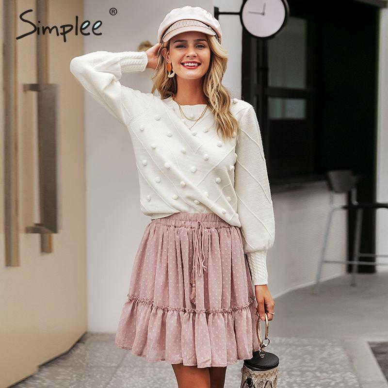 Simplee elegante Pelz Pompon Frauen Pullover Herbst Winter Laterne Hülse gestrickten Pullover weiblichen Street Damen Pullover Jumper Y200116