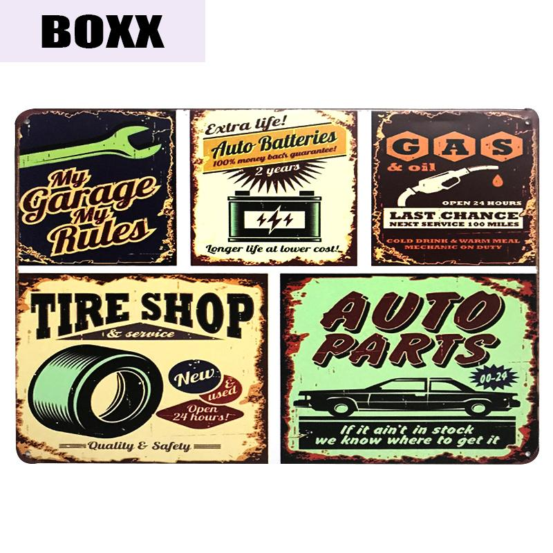 Entrar Hot Auto Peças Tin Store Bar Wall Decor metal sinal do metal do vintage Placa Home Decor Art Pintura placas Poster
