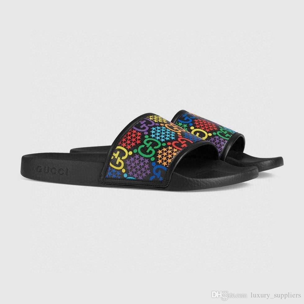 slide psychédélique de luxe de caoutchouc d'été Sandales Plage Diapo Mode Scuffs Chaussons Chaussures Indoor Taille 36-46 Boîte Livraison gratuite
