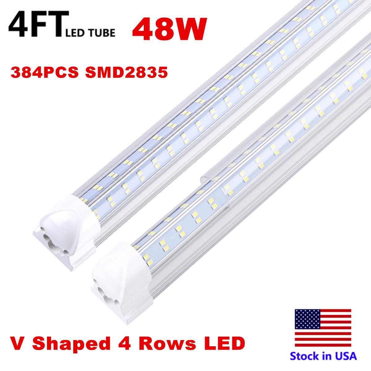 4ft 8ft LED Lights V-Shaped Integrated LED Tube Light Fixtures 120W 4 Row LEDs SMD2835 LED Lights 100LM/W Stock in USA