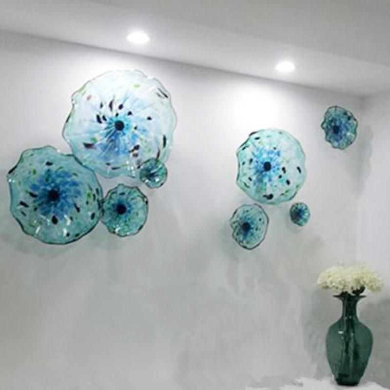Murano Flower Glass Plates Wall Arts Blue Color Nordic Art Deco 100% Hand Blown Glass Hanging Plates Scallop Edges Shape