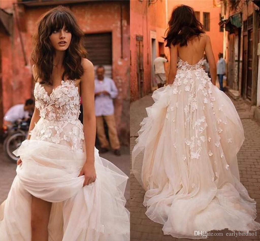 2020 Champagne Spagetti Bohemian weddng Elbise Eleagnt Açık Geri 3D Çiçekler Plaj Boho Artı boyutu Gelin Elbise