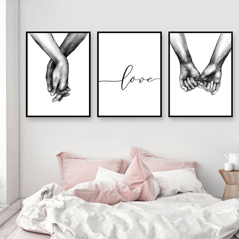 Nordic Poster Preto E Branco De Mãos Dadas Cópias Da Lona Imagem Amante Citação Pintura Da Arte Da Parede Para Sala de estar Decoração Minimalista