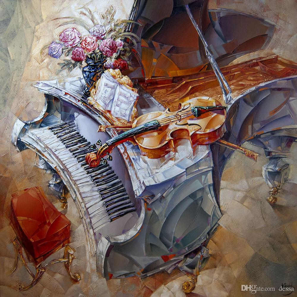 High quality Oil Paintings of Guitar On Piano canvas art abstract woman Hand painted Personalized Gift
