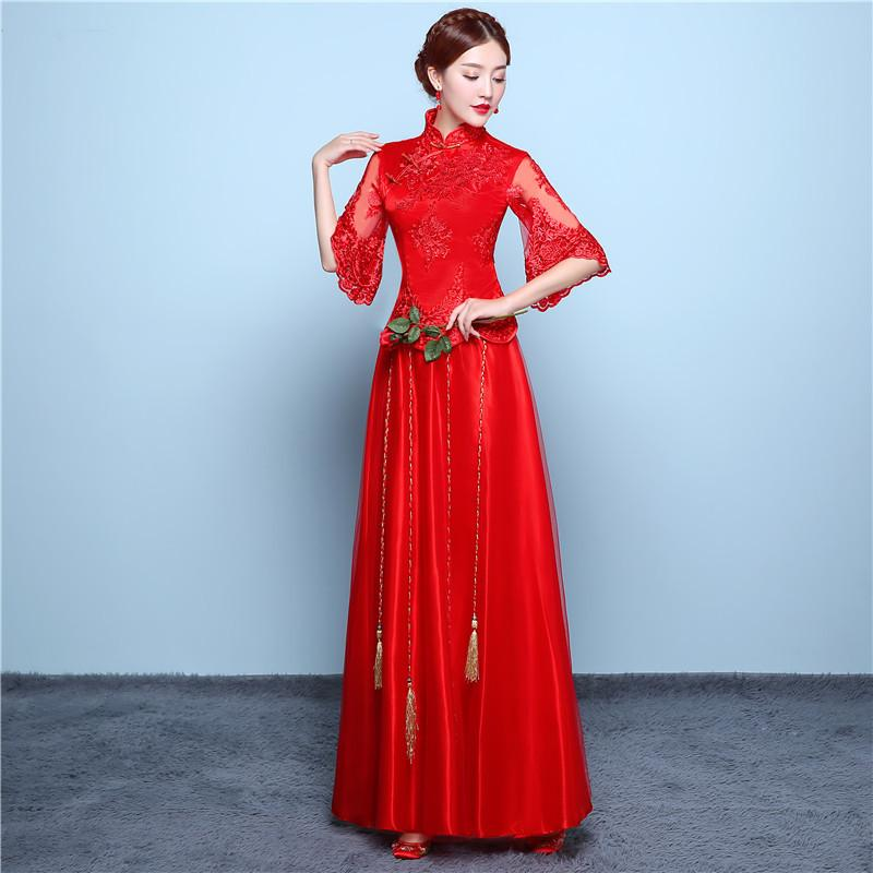 TS626 Red Bride Cheongsam Grain Fashion Women Embroidery Modern Chinese Wedding Dress Long Traditional Clothes China Qipao Pattern