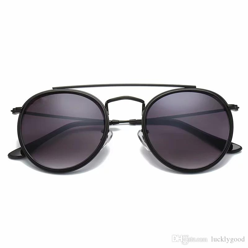 New Arrial 3647 Steampunk sunglasses women men metal frame double Bridge glass lense Retro Vintage sun glasses Goggle with box ray