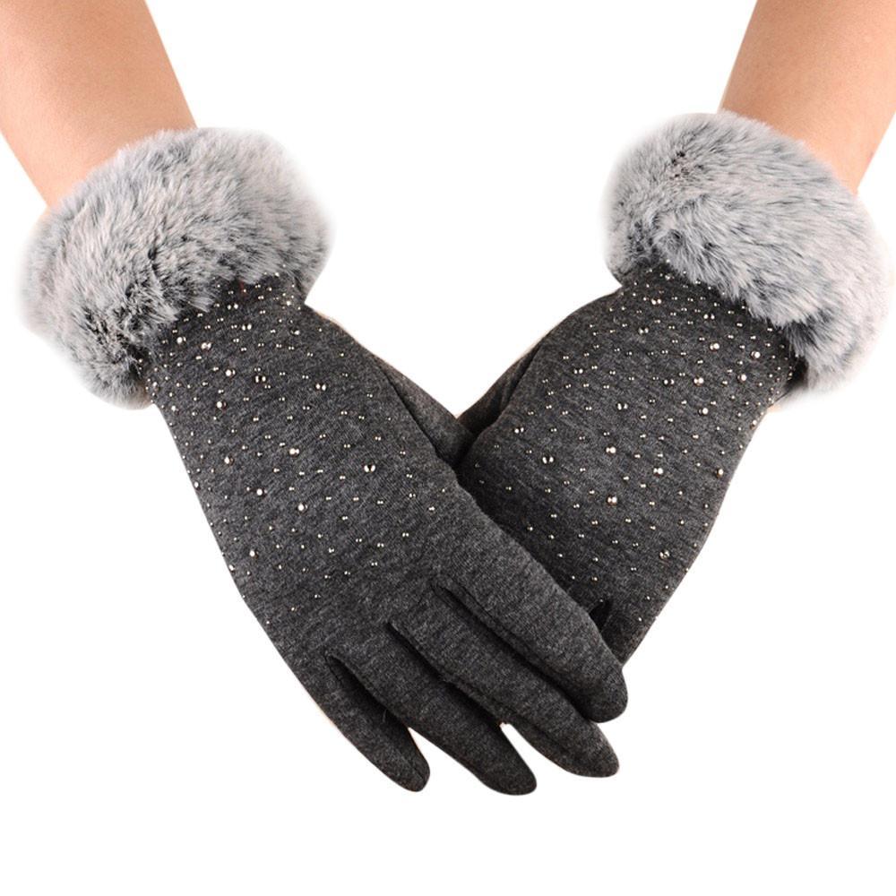 Mode-Gants hiver Épaissir chaud Gardez mitaines femme fausse fourrure Gants élégant chaud à la main de haute qualité Eldiven 5 Guantes