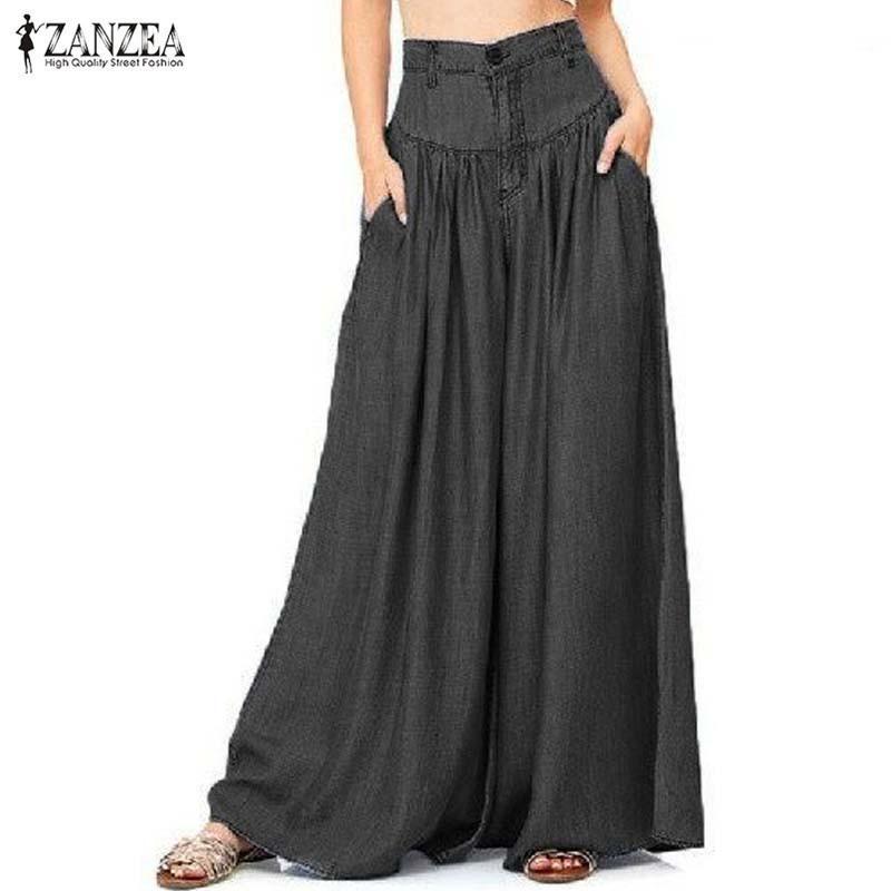 2019 Zanzea Mulheres Verão Calças Causal Cintura Alta Pantalon Zipper Up Calças Perna Larga Azul Denim Solto Calças Compridas S-5xl Y19051701