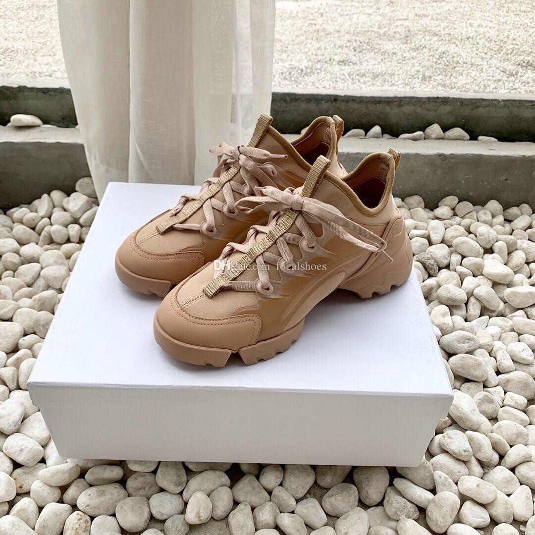 Triplo D-Connect sapatilha Calçados Femininos Vintage Casual Shoe estrelas de luxo Designer Shoes Men Sneakers rosa Couro Lace-Up