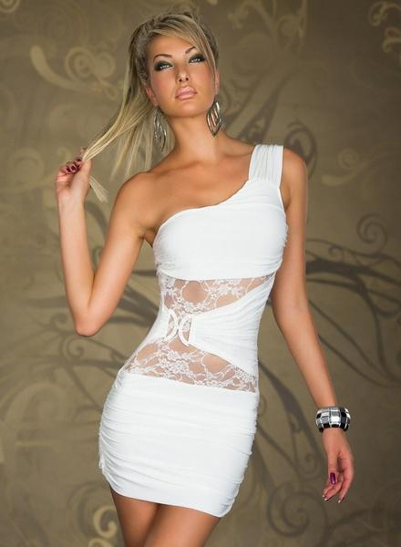 2019 Sexy One Shoulder Lace Patchwork Night Club Wear Ladies Summer Mini Sheath Dress Party Costume Clubwear Black White Blue From Mintian73748096