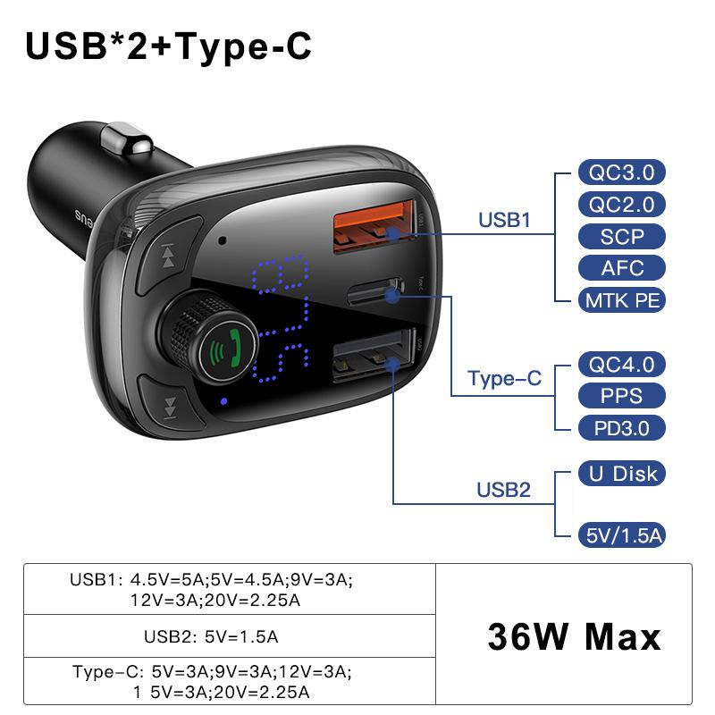 Quick Charge 4.0 Car Charger for Phone FM Transmitter Bluetooth Car Kit Audio MP3 Player Fast Dual USB Car Phone Charger