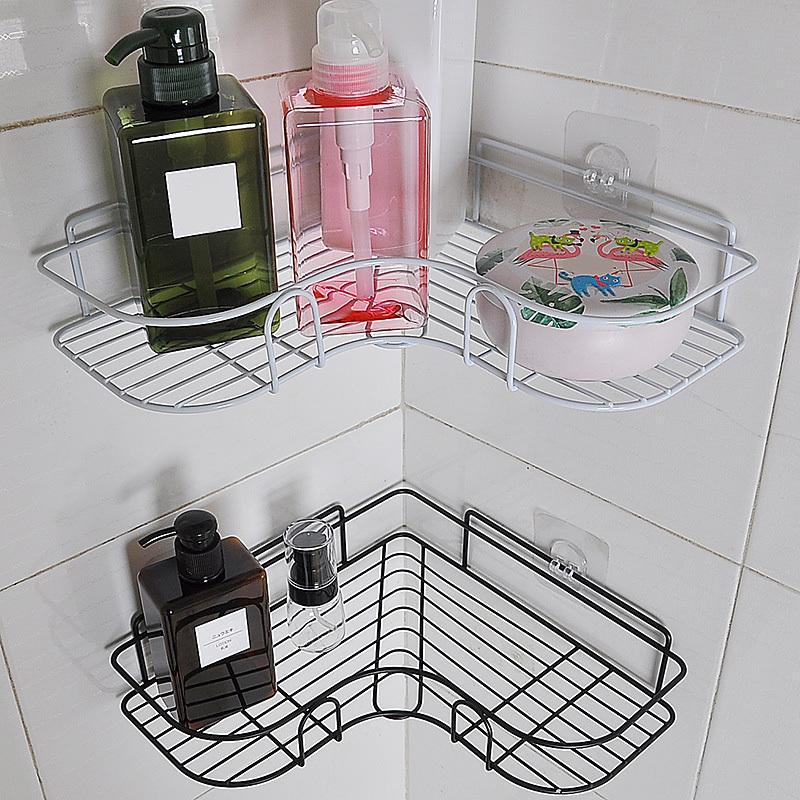 Coin salle de bain étagère étagère en métal support de stockage en acier Stainl acier punch-libre douche cuisine monté mur de rangement organisateur rack