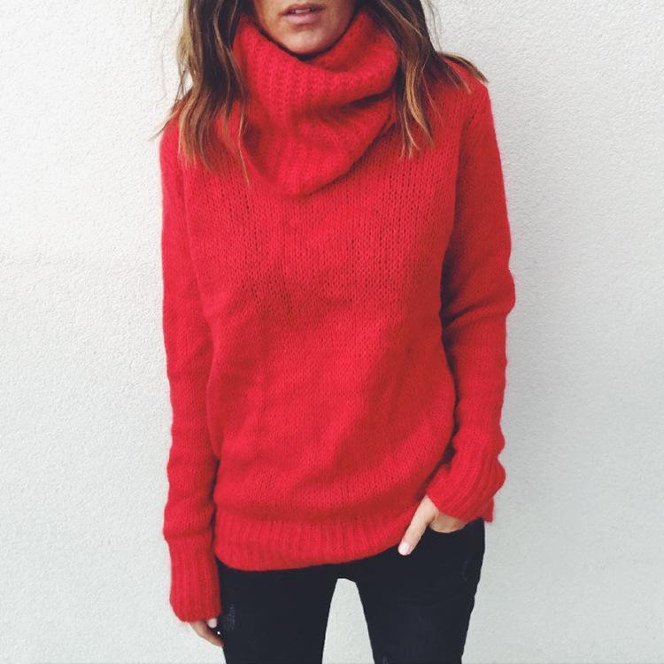 여성용 스웨터 풀오버 스웨터 여성 점퍼 의류 Turtleneck 여성 당기는 맨더 두꺼운 겨울 특대 니트