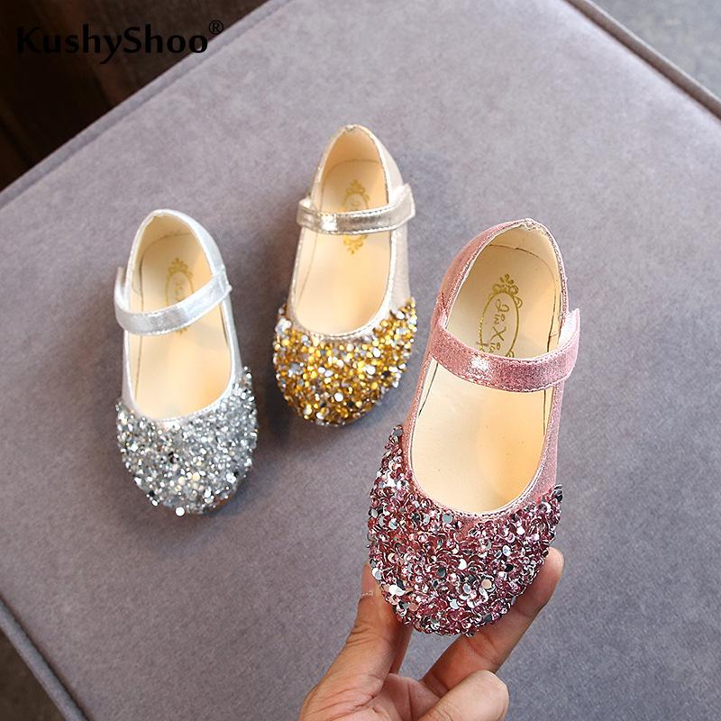 KushyShoo 2020 Spring New Children Shoes Girls Princess Shoes Glitter Children Baby Dance Shoes Casual Toddler Girl Sandals CX200703