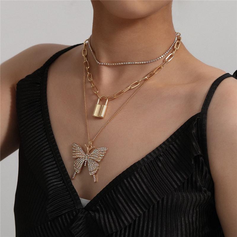 5SET / لوط ريترو الهندسية قلادة الصليب فراشة الماس قفل عنق سلسلة مجموعة للنساء ثلاثة طبقة قلادة القلائد مجموعات مجوهرات