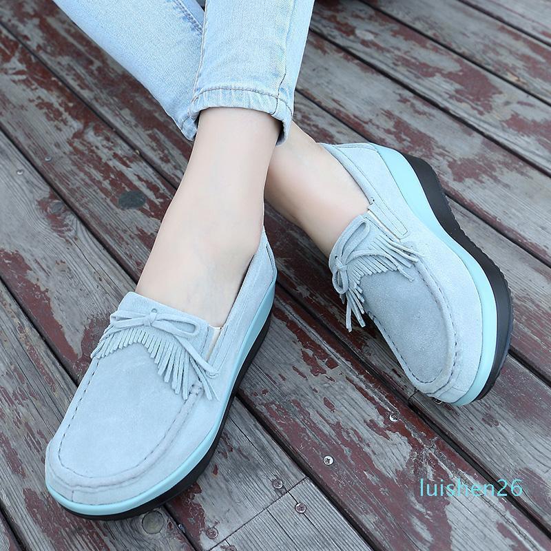 Mujeres Pisos gruesa plataforma zapatos de suela de cuero del ante ocasional de las mujeres zapatillas de deporte de la franja de deslizamiento en los zapatos de las enredaderas de Niza otoño