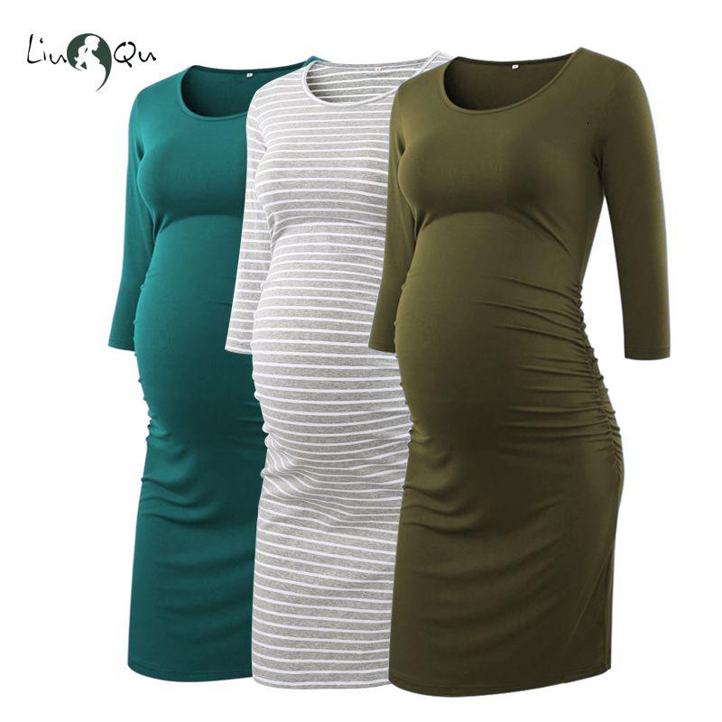 Pack de 3pcs côté robes de maternité froncées 3 quart manches Bodycon robe de grossesse Wrap robes de maternité pour photo ShootMX190910