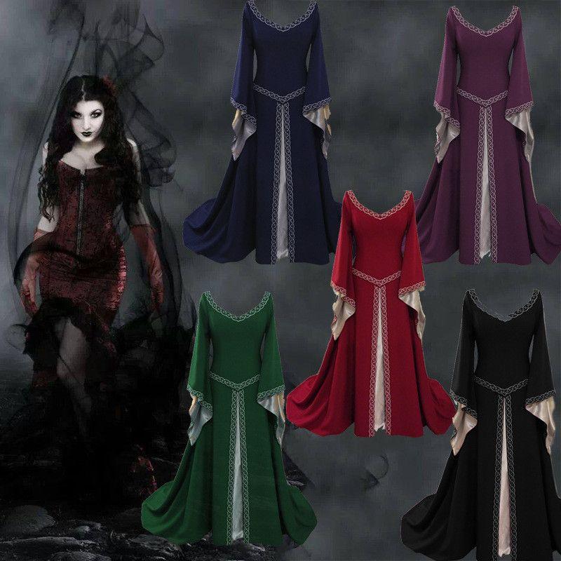 Женский дизайнер Средневековья платье Европа и американский стили благородство платье дамы развеваются рукав модной одежды