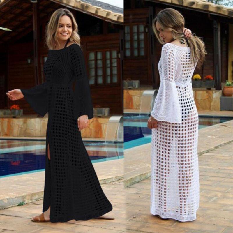 Kadın Plaj Bikini Cover up Uzun Kaftan Elbise Yaz Boho Maxi Elbise Mayo Örgü See-Through Plaj Sundress Yüzme