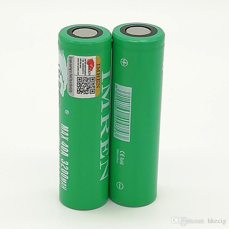 100% высокое качество IMR Зеленый 18650 Аккумуляторная батарея с 3200 мАч 40A Макс литий-ионные аккумуляторы высокой емкости с бесплатной доставкой