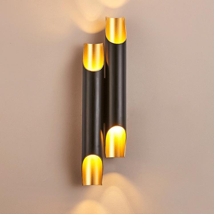 현대 알루미늄 파이프 벽 램프 LED 램프 보루 LED 위로 아래로 날개 블랙 이분의 일 전등 WA035