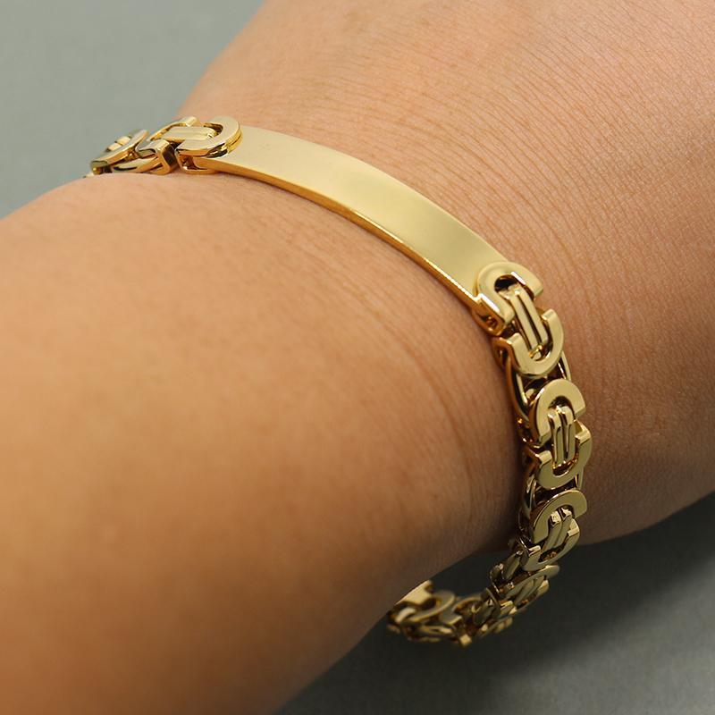 Women & Men ID bar bracelet Chain Bracelets fashion Stainless Steel jewelry Bracelets